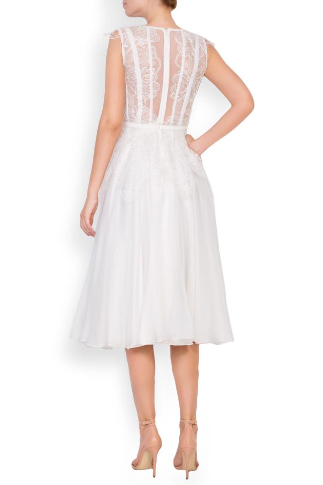 Dyna silk and Chantilly lace midi dress Cosmina Englizian image 2