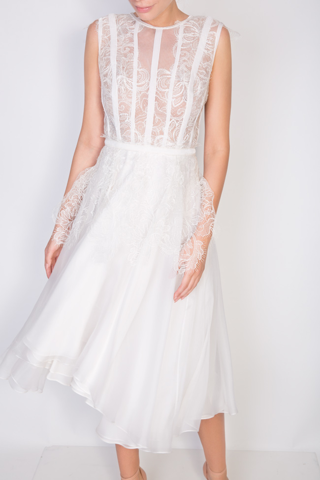 Dyna silk and Chantilly lace midi dress Cosmina Englizian image 3