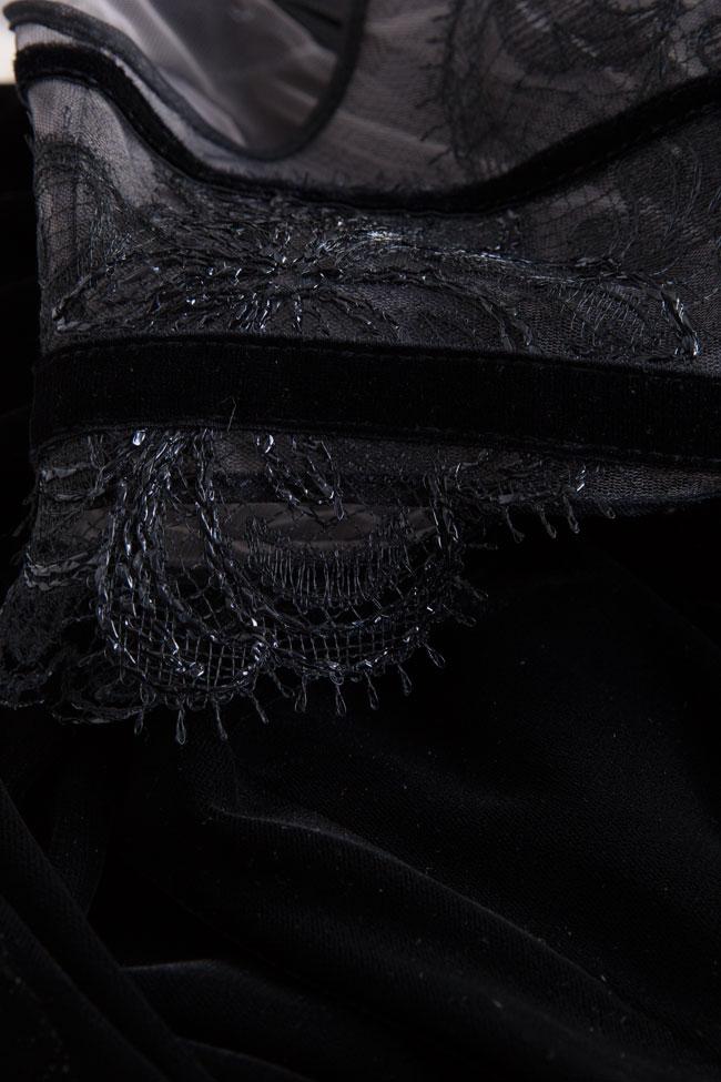 Rochie asimetrica din catifea de matase si dantela Chantilly Ryanne Cosmina Englizian imagine 4