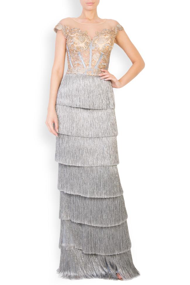 Ensemble brodé avec fil de lamé et jupe avec franges métallisées Mariana Ciceu image 0