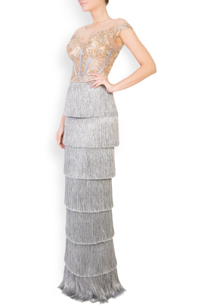 Ensemble brodé avec fil de lamé et jupe avec franges métallisées Mariana Ciceu image 1