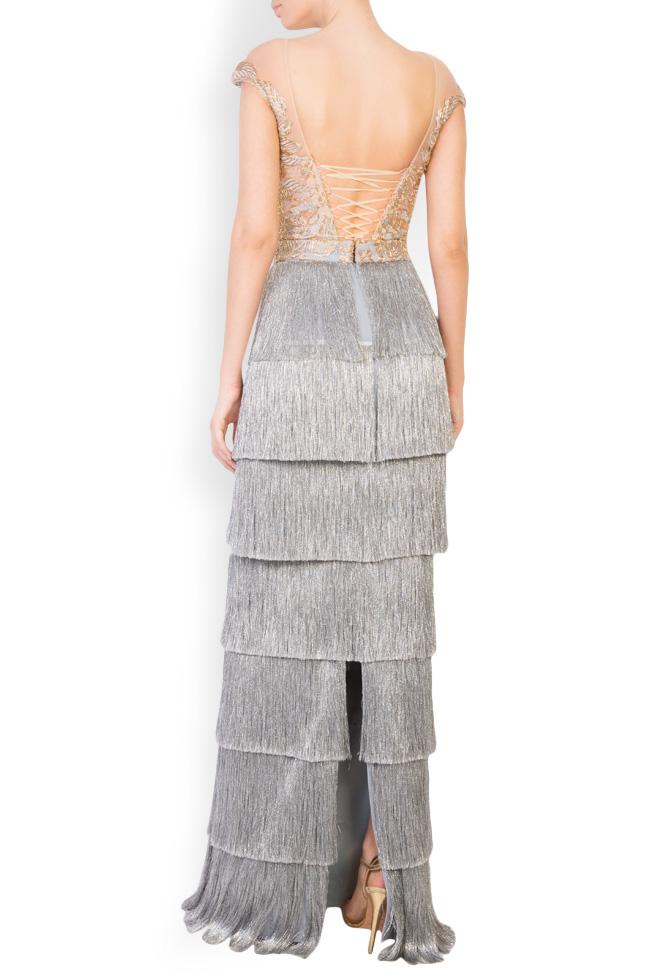 Ensemble brodé avec fil de lamé et jupe avec franges métallisées Mariana Ciceu image 2