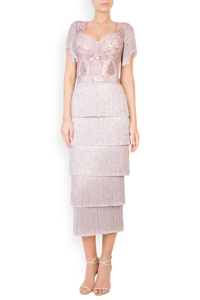 Ensemble en tulle brodé avec fil de lamé et jupe avec franges Mariana Ciceu image 0
