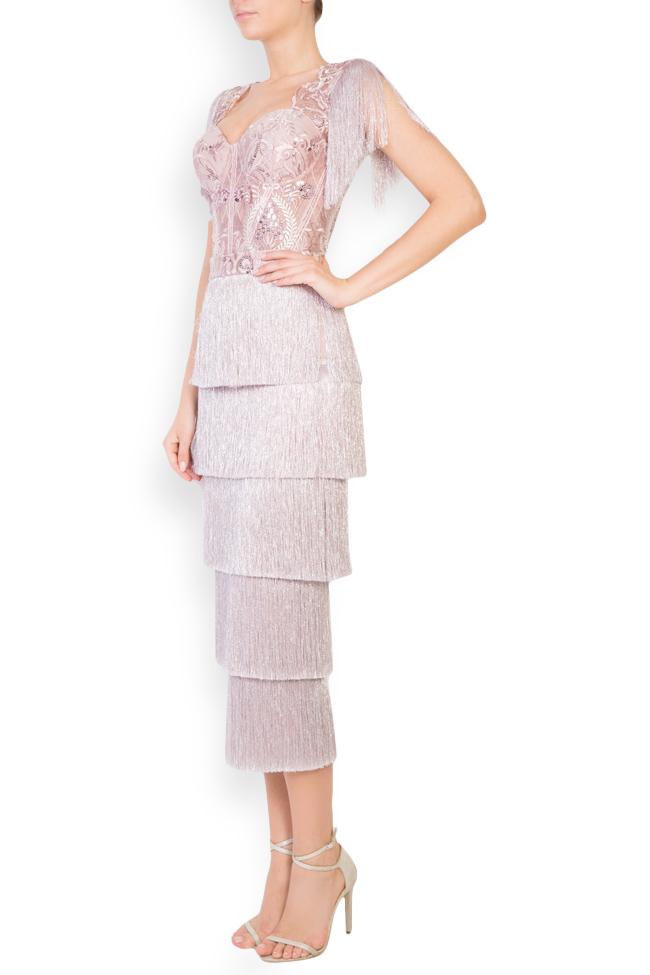 Ensemble en tulle brodé avec fil de lamé et jupe avec franges Mariana Ciceu image 1