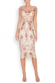 Mariana Ciceu Marie tul and lame lace midi skirt
