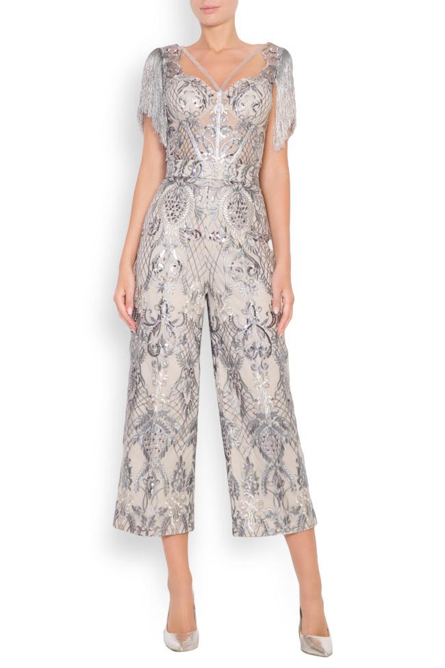 Pantalon large en tulle brodé avec dentelle et sequins Emma Mariana Ciceu image 0