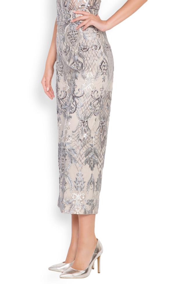 Pantalon large en tulle brodé avec dentelle et sequins Emma Mariana Ciceu image 1