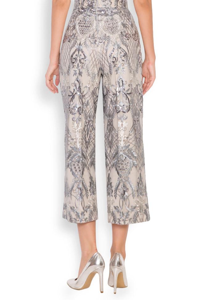 Pantalon large en tulle brodé avec dentelle et sequins Emma Mariana Ciceu image 2