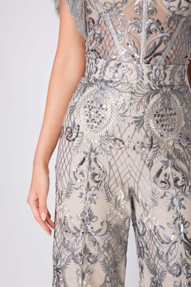 Pantalon large en tulle brodé avec dentelle et sequins Emma Mariana Ciceu image 3
