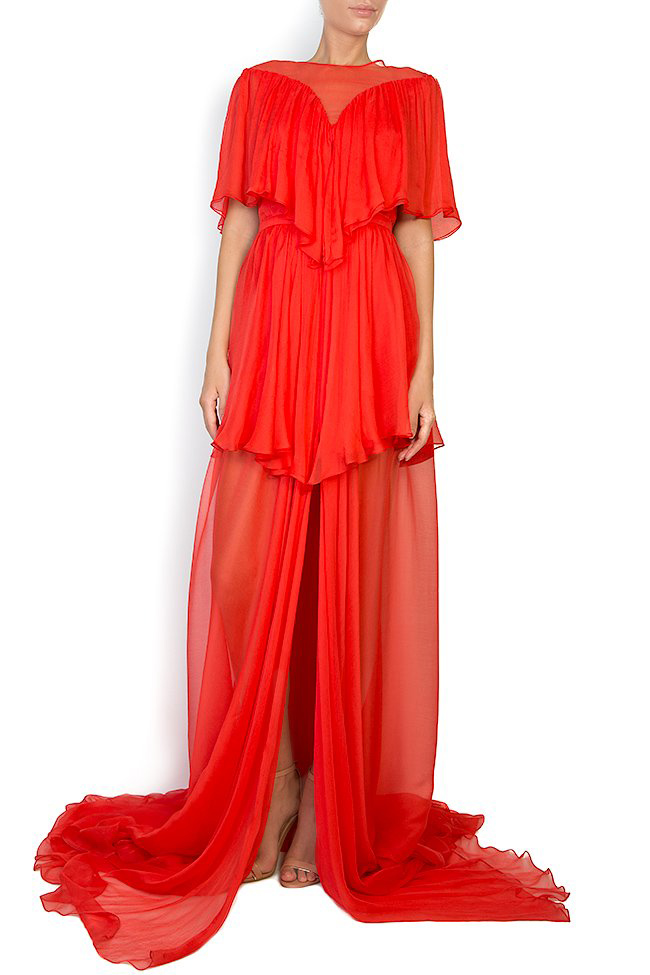 Serena silk-chiffon gown Manuri image 0