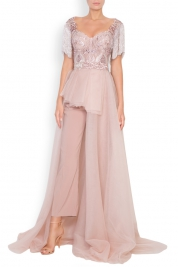 Mariana Ciceu Angela crepe fringed embroidered lame lace and tulle deux-pieces