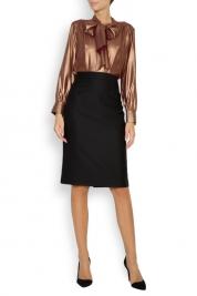 Acob a Porter Pussy-bow metallic silk blouse