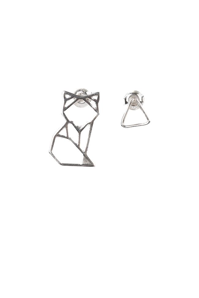 Cercei din argint Origami Fox Snob. imagine 0