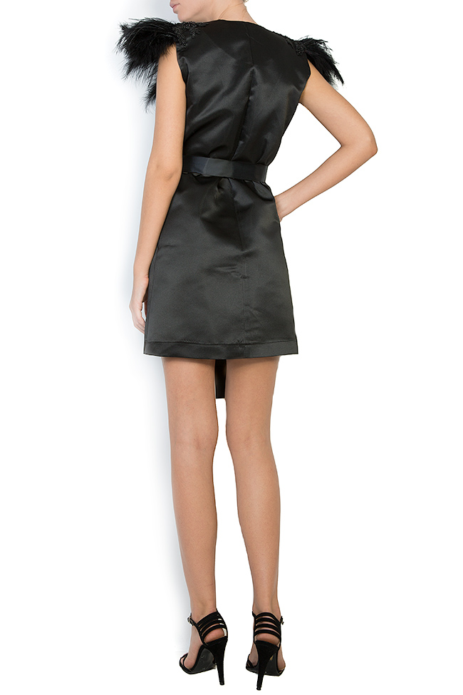 Feather trimmed taffeta mini dress Atelier Jaisse image 2