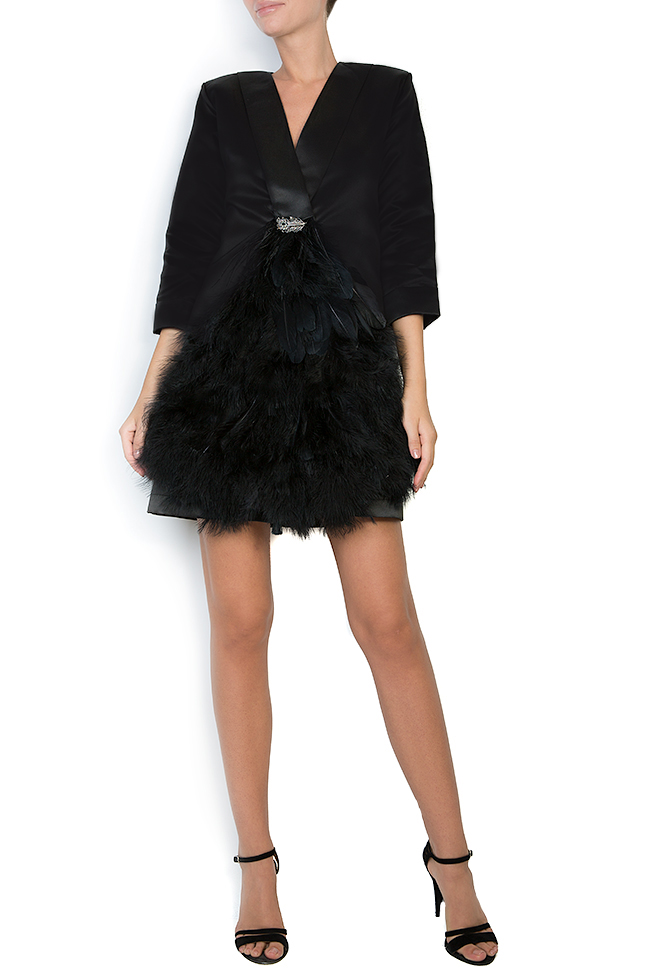 Feather trimmed taffeta mini dress Atelier Jaisse image 0