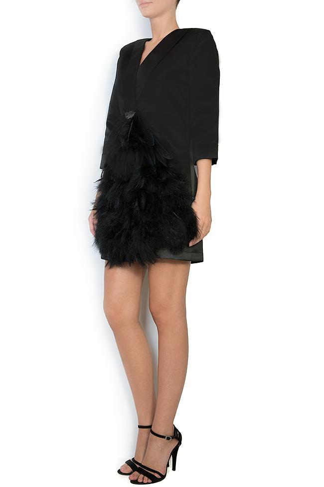 Feather trimmed taffeta mini dress Atelier Jaisse image 1