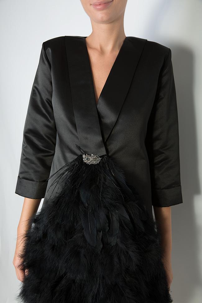 Feather trimmed taffeta mini dress Atelier Jaisse image 3