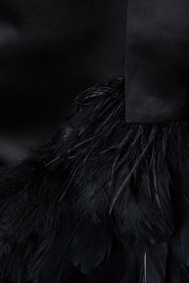 Feather trimmed taffeta mini dress Atelier Jaisse image 4