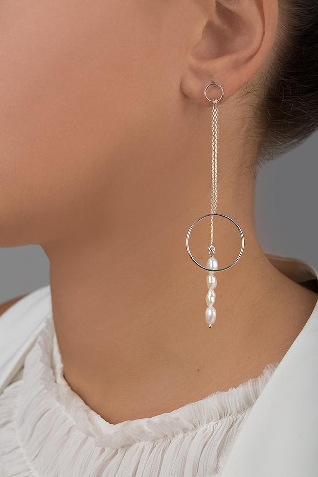 Cercei din argint cu perle de cultura Eneada imagine 3