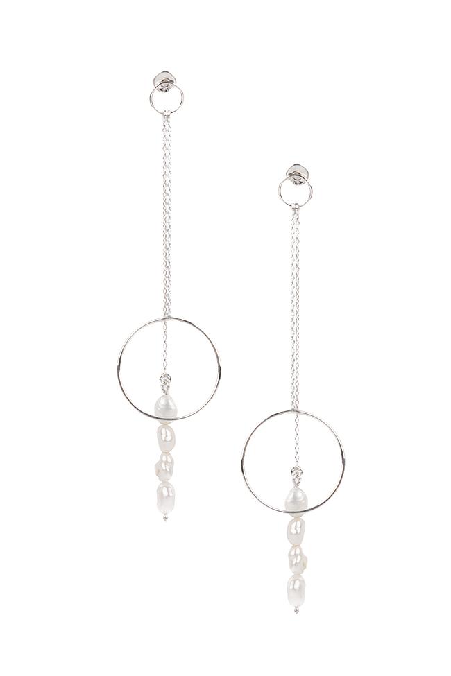 Cercei din argint cu perle de cultura Eneada imagine 0