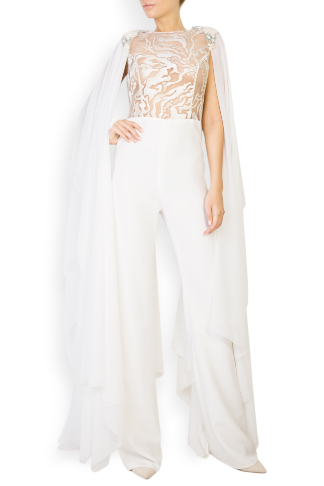 Suzanne cape-effect embroidered silk-crepe jumpsuit Style Up image 0