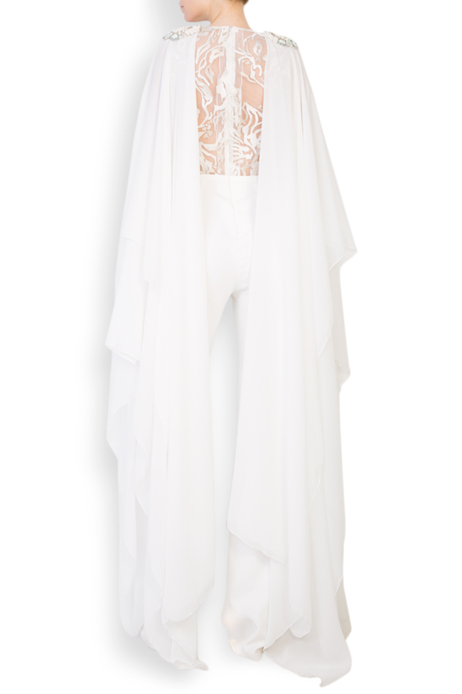Suzanne cape-effect embroidered silk-crepe jumpsuit Style Up image 2