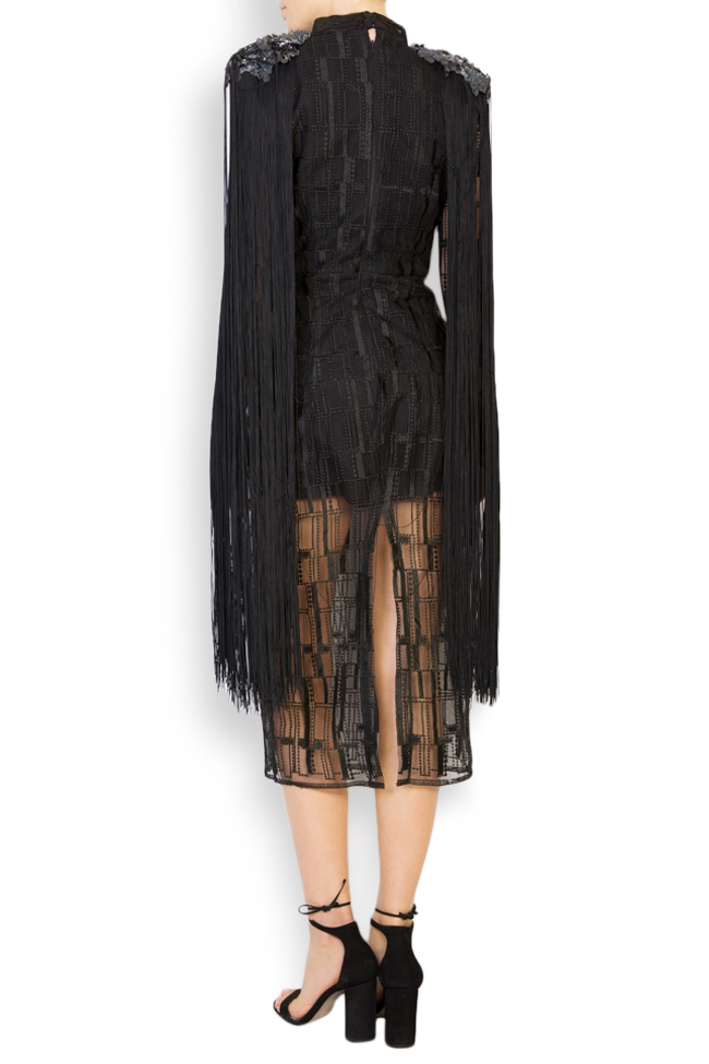 Kary embellished fringed tulle midi dress Style Up image 2