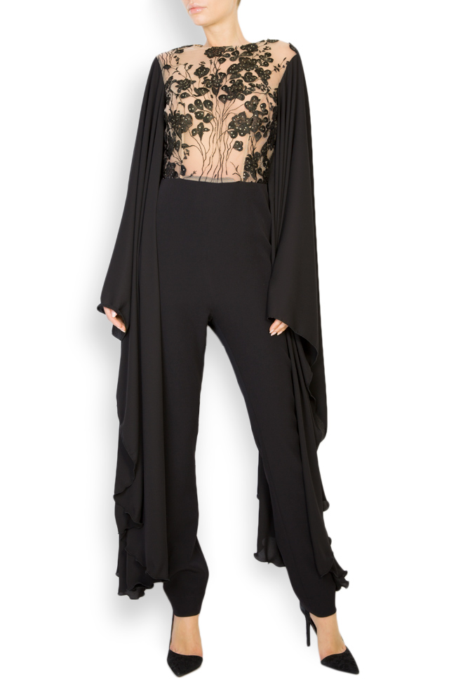 Lissette lace-trimmed embroidered tulle and crepe jumpsuit Style Up image 0