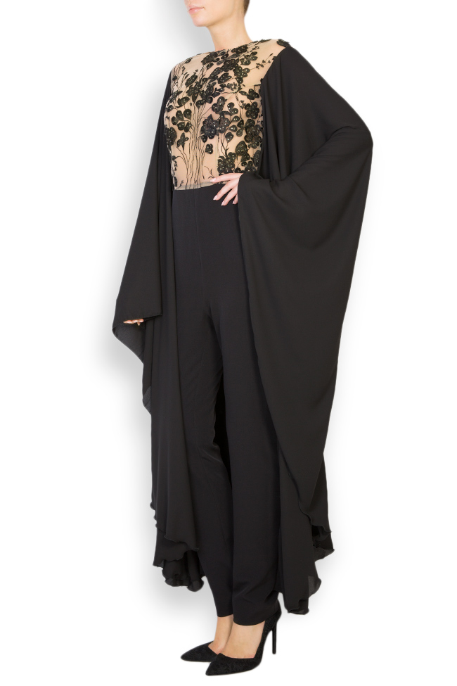 Lissette lace-trimmed embroidered tulle and crepe jumpsuit Style Up image 1