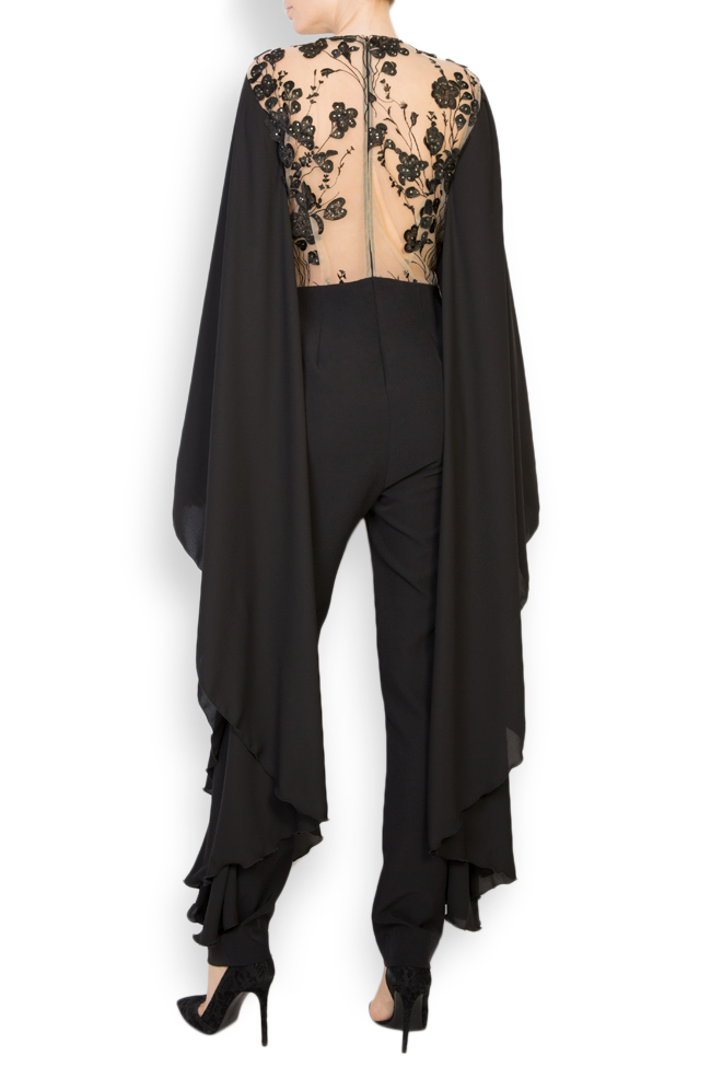 Lissette lace-trimmed embroidered tulle and crepe jumpsuit Style Up image 2