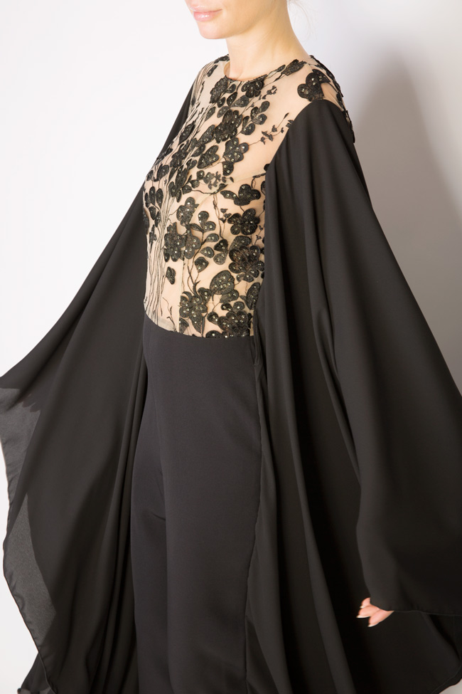 Lissette lace-trimmed embroidered tulle and crepe jumpsuit Style Up image 3