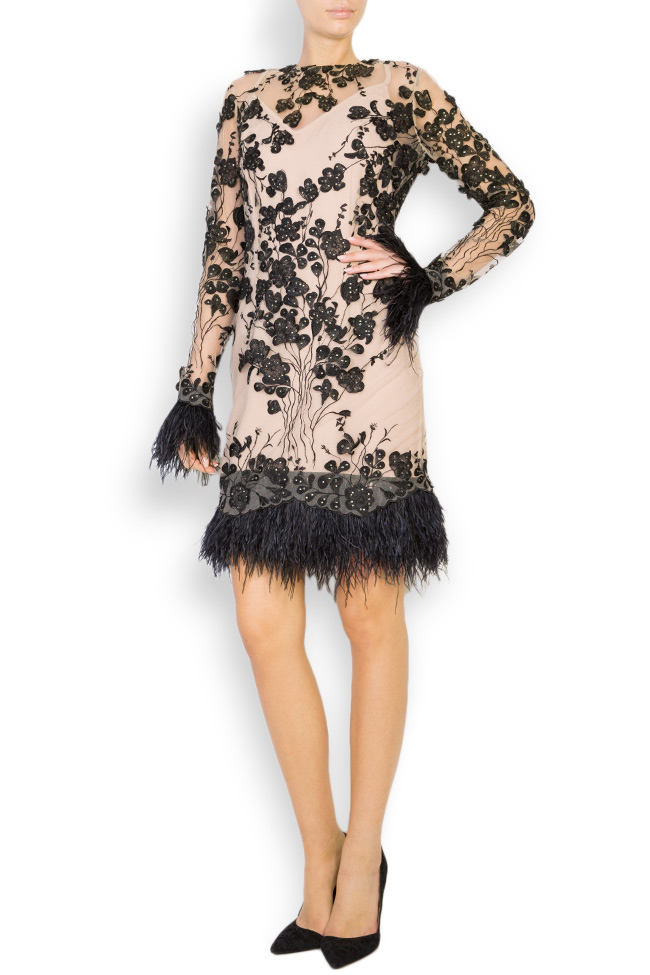 Louisa embellished feather-trimmed crepe tulle dress Style Up image 0