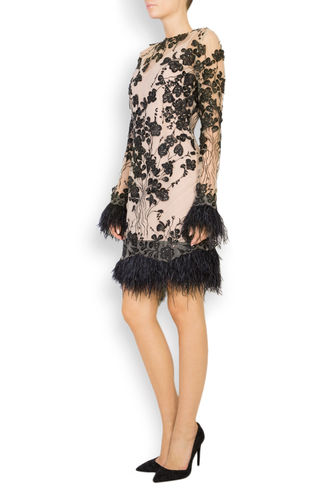 Louisa embellished feather-trimmed crepe tulle dress Style Up image 1