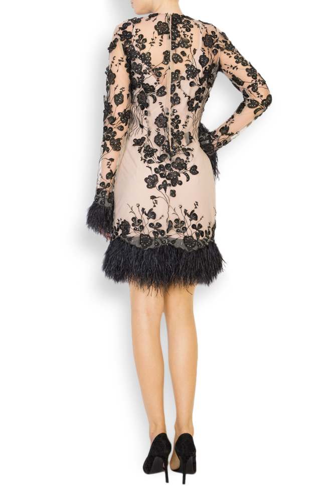 Louisa embellished feather-trimmed crepe tulle dress Style Up image 2
