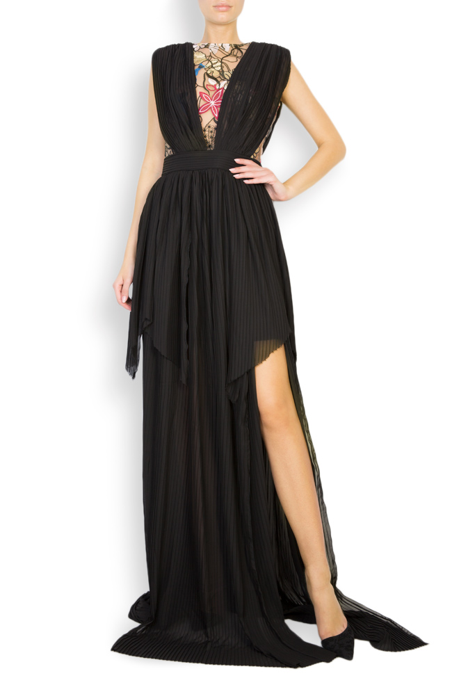 Koty embroidered pleated veil gown Style Up image 0