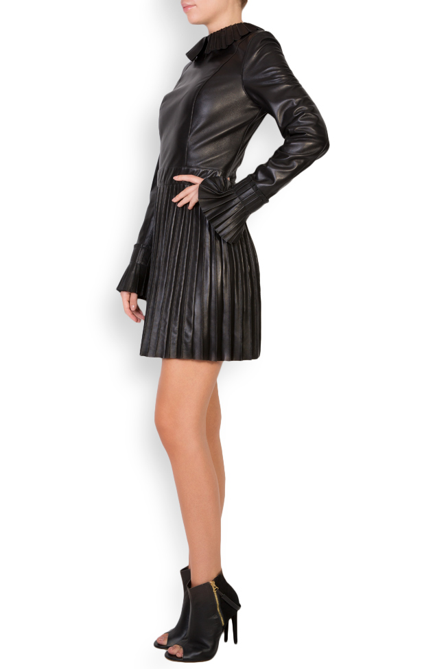 Pleated leather mini dress LUWA image 1