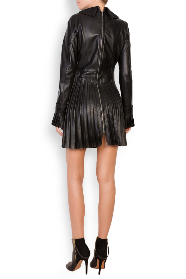 Pleated leather mini dress LUWA image 2