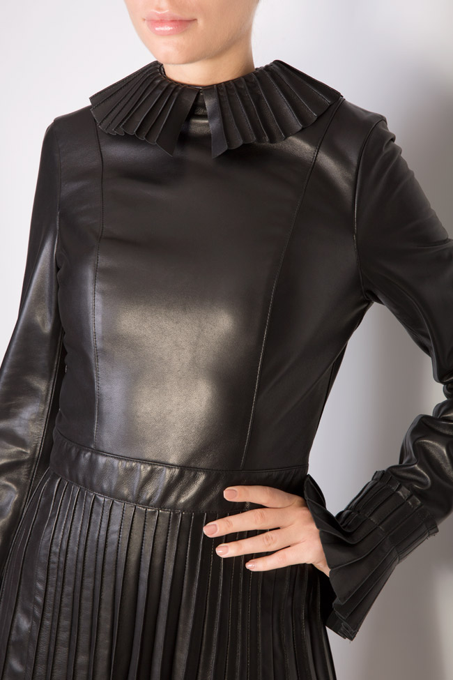 Pleated leather mini dress LUWA image 3