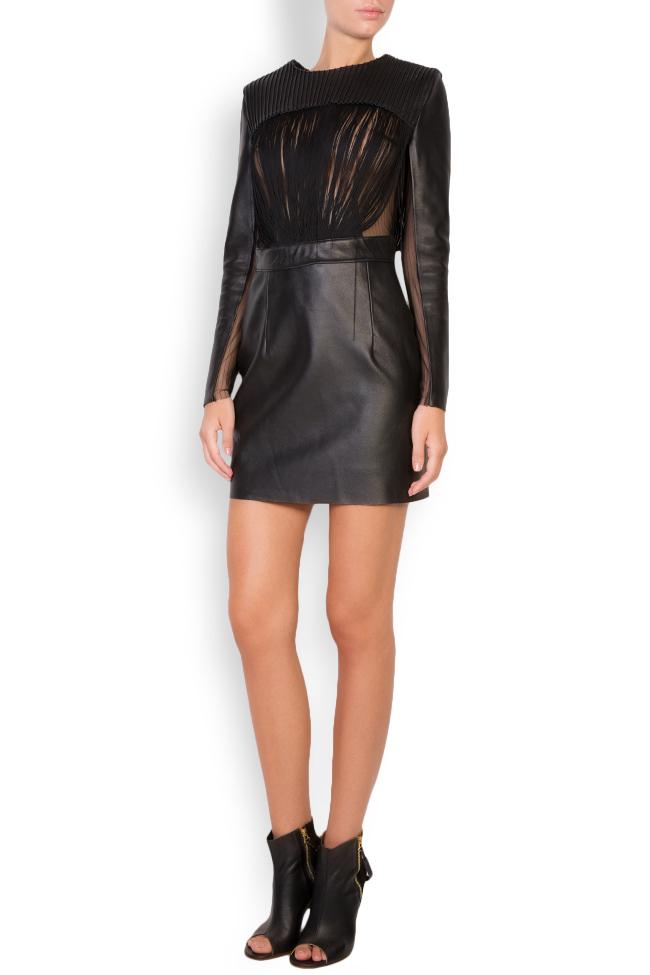 Fringed leather tulle mini dress LUWA image 0