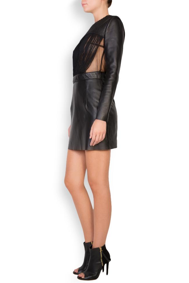 Fringed leather tulle mini dress LUWA image 1