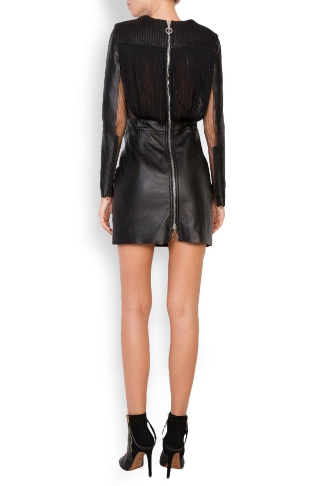 Fringed leather tulle mini dress LUWA image 2