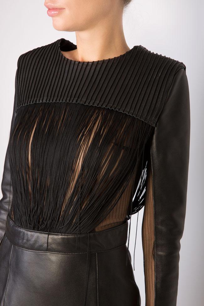 Fringed leather tulle mini dress LUWA image 3