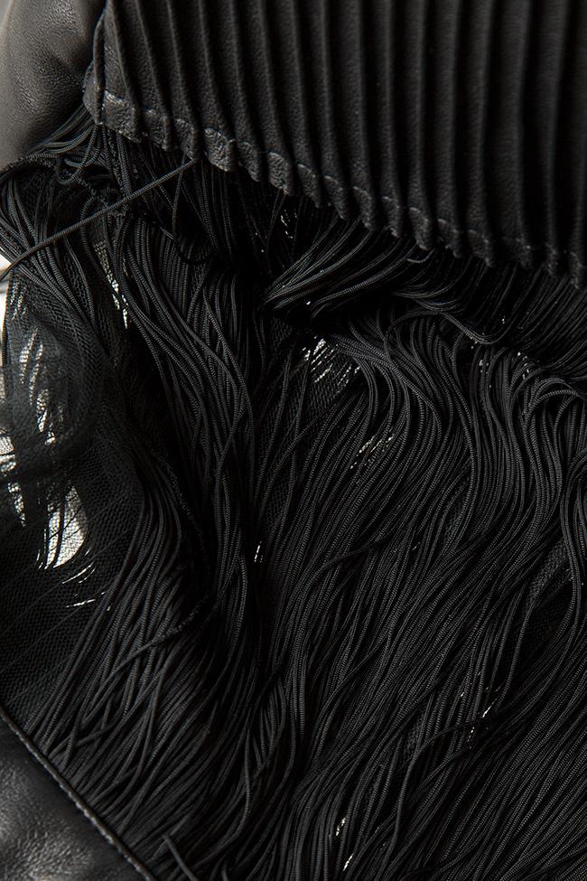 Fringed leather tulle mini dress LUWA image 4