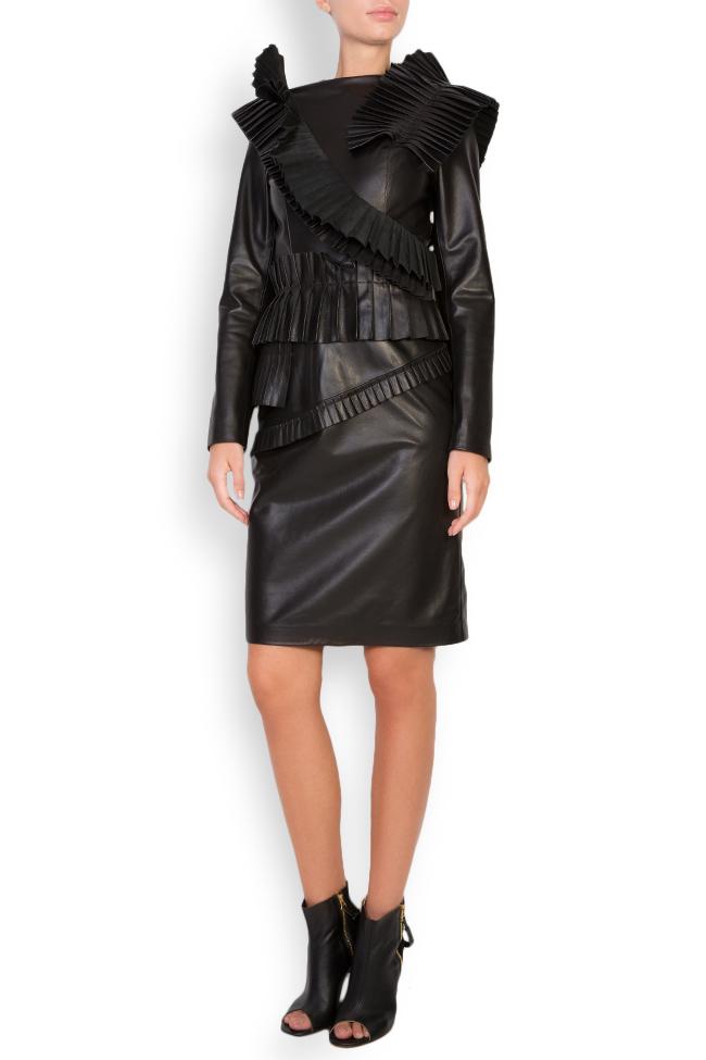 Pleated ruffled leather mini dress LUWA image 0