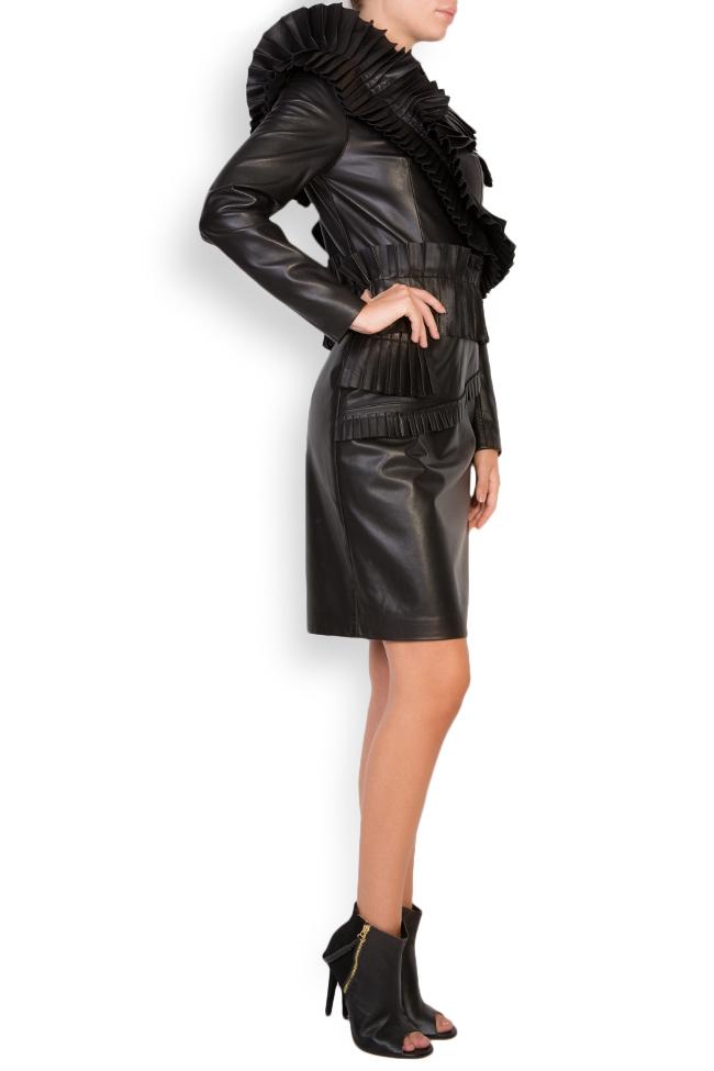 Pleated ruffled leather mini dress LUWA image 1