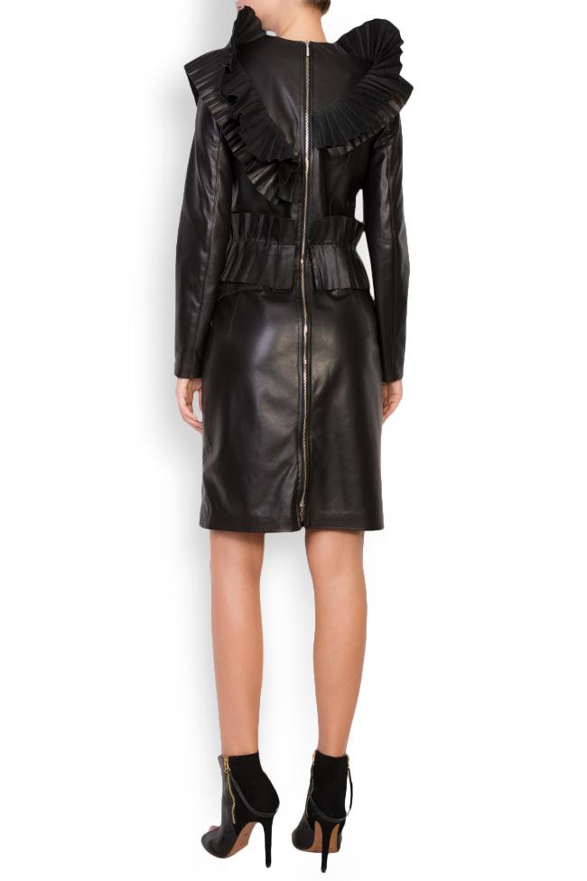 Pleated ruffled leather mini dress LUWA image 2