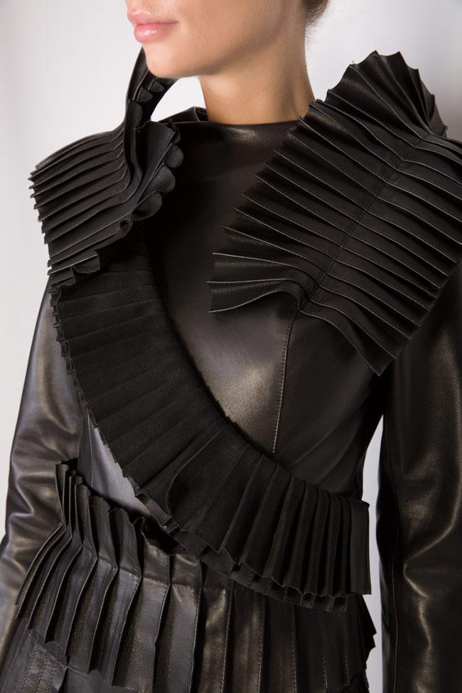 Pleated ruffled leather mini dress LUWA image 3