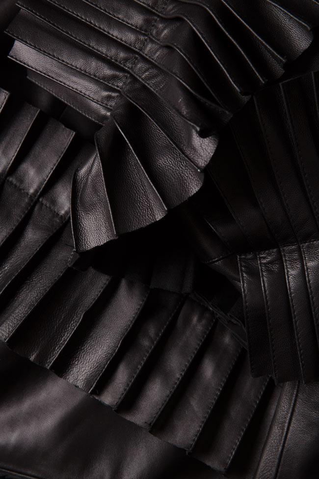 Pleated ruffled leather mini dress LUWA image 4