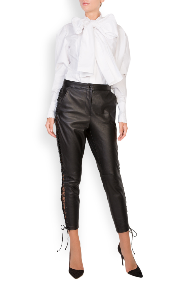 Lace-up leather pants LUWA image 0