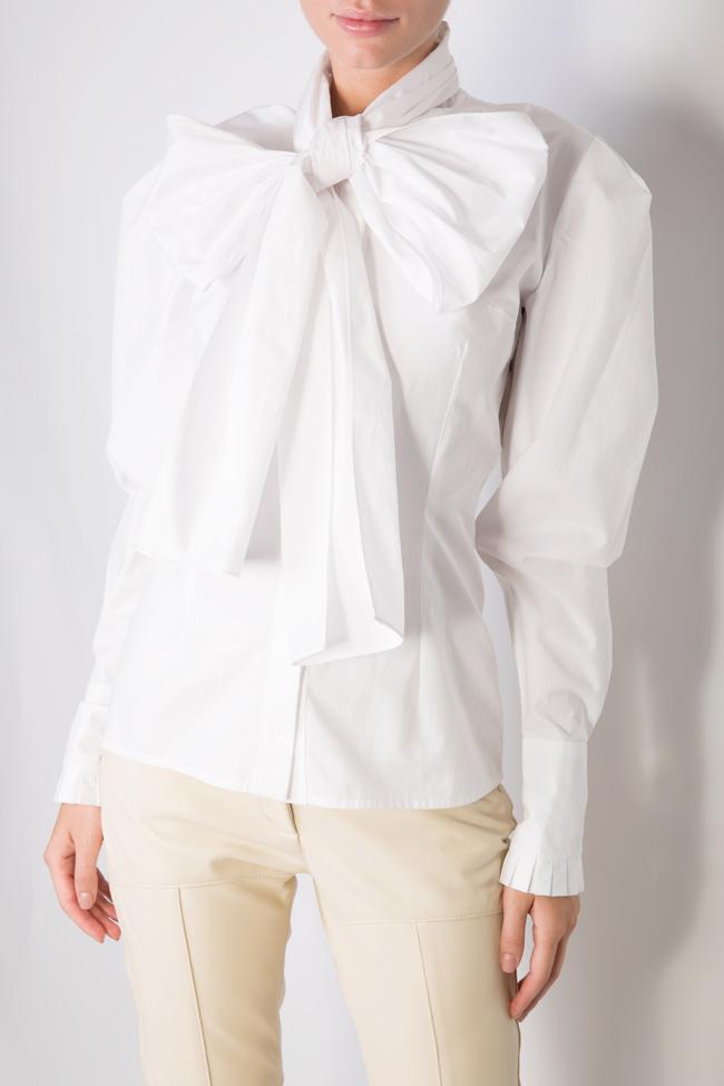 Pussy-bow cotton-poplin shirt LUWA image 3